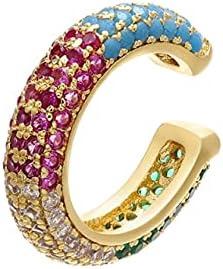 1PC Round Rainbow Colorful Ear cilp Wholesale Ear Bones cilp for Women Earrings Copper Accessories Jewelry