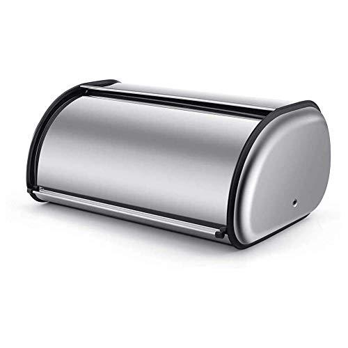 Dongbin Edelstahl Brot Aufbewahrungsbox Brotkasten Vorratsbehälter Mit Rolldeckel Für Küchentheke,Silber,L