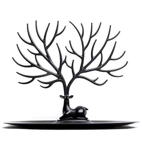 ZHFF Espositore per espositore per Gioielli con Testa di Cervo Alce Nero Espositore per espositore a Forma di Ramo di Un Albero per Orecchini Collana Bracciale Organizzatore Supporto per Bacchette