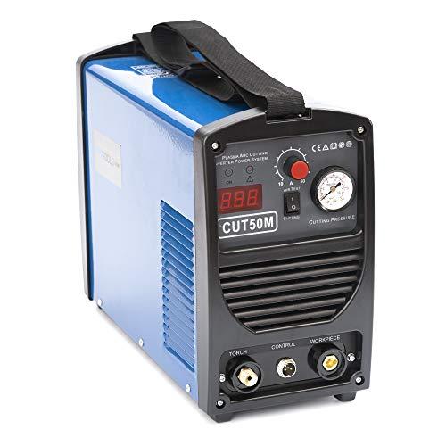 IPOTOOLS Plasmaschneider CUT-50M - Plasmaschneidgerät 50A bis 14 mm Schneidleistung 60{1ca9ee9c8a962e69ed9ad044185569496dcb9a4486da4515a50442c570d7d9ea} ED Schneiden Inverter Schweißgerät Plasma Cutter mit HF Zündung, Blau, 230V, 7 Jahre Garantie
