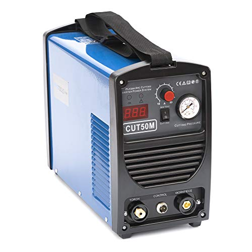 IPOTOOLS Plasmaschneider CUT-50M - Plasmaschneidgerät 50A bis 14 mm Schneidleistung 60{f670bfe46a0f3cf19c657f6034001aa8971501b0016749754a2ae7d4a3cbdbed} ED Schneiden Inverter Schweißgerät Plasma Cutter mit HF Zündung, Blau, 230V