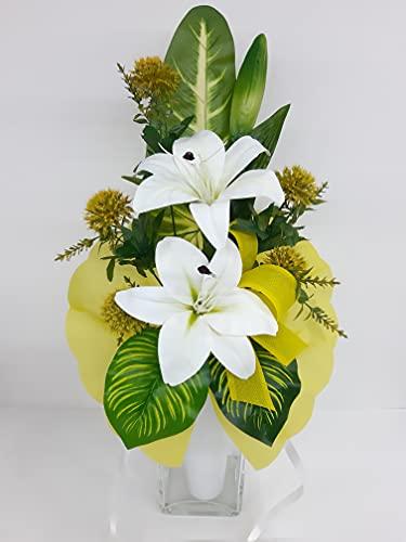 dolarestore Ramo para Cementerio pequeño, confeccionado con Flores Artificiales (Tela) Especial incineración. Medida 53cm AZUCENAS Blancas (71001)