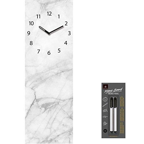 Eurographics Time Board Wanduhr Glasuhr Memoboard 20 x 60 cm +2 Gratis Boardmarker (Slate Plate)