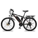 BAHAOMI Bicicleta Eléctrica 26' 21 velocidades Bicicleta de montaña eléctrica para Adultos 3 Modos de Trabajo E-Bike Batería de Litio extraíble,Negro,48V10AH 500W