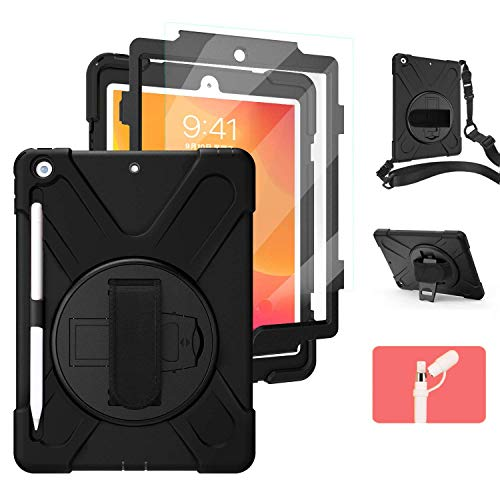 iPad 7th/8th Generation Case with Screen Protector Pencil Holder   Herize iPad 10.2 Case 2019/2020   10.2 Inch Heavy Duty Shockproof Silicone Protective Cover w/Kickstand Hand Shoulder Strap   Black