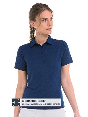 Schöffel Damen Polo Shirt Capri1 tailliertes Poloshirt für Frauen, atmungsaktives Funktionsshirt mit Moisture Transport System, Blau (Dress Blu, 46