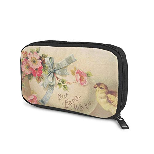 Best Easter Wishes Printed Electronic Organizer Small Travel Cable Organizer Bag Portable Electronics Accessories Cases for Cable, Charger, Phone, USB, SD Card, Black