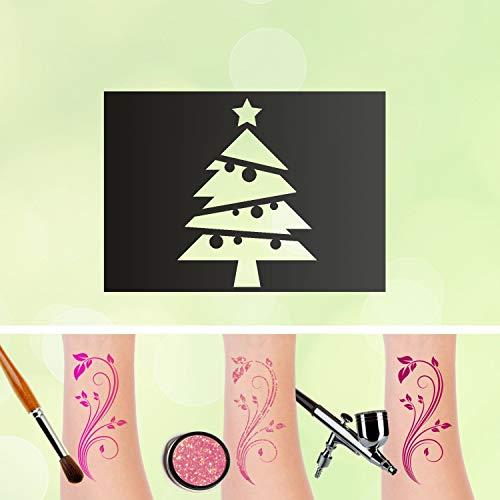 Tattoo Schablone Weihnachtsbaum Selbstklebend Kinder Schminken Airbrush Größe 50 Stk