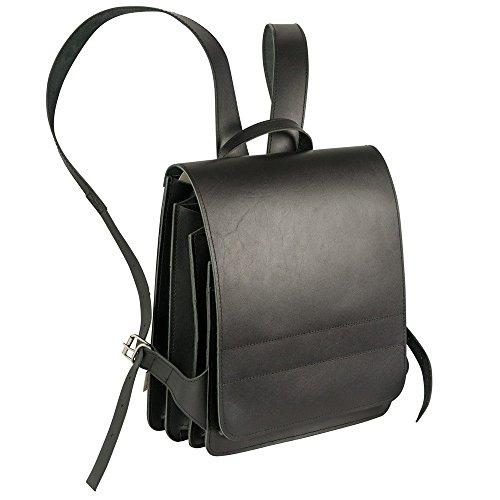 Mittel-Großer Lederrucksack Lehrerrucksack Größe M aus Leder, für Damen und Herren, Schwarz, Jahn-Tasche 668