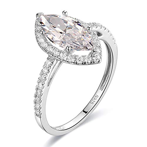 ButiRest Real gold women's jewellery, wedding ring 14 carat / 18 carat white gold with 6-bar claw setting white moissanite marquise cut, colour silver. silver