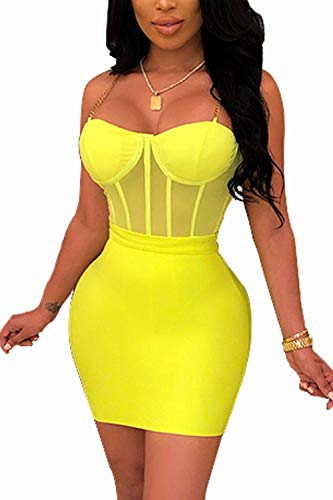 WIWIQS Women Sleeveless Sexy Off Shoulder Bodycon Backless Deep V Neck Club Party Mini Dress Yellow L