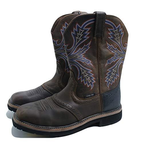 DrakSun Herren-Pull-on Short Boot mit Stahlkappe Leder Reitstiefel Hoch-Spitze im Freien Ritter Stiefel Lässige Vintage-Western-Cowboy Bestickte Schuhe,Braun,43.5