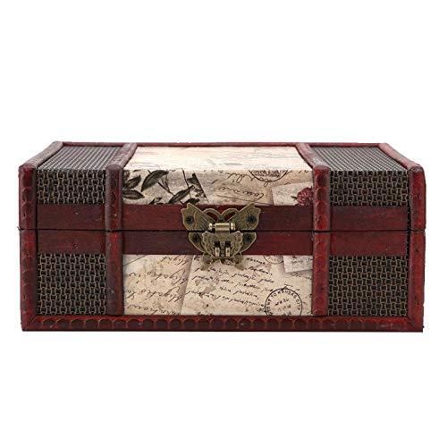 Germerse Caja del Tesoro Vintage, Caja de Almacenamiento portátil de 9.1x6.3x3.9in, ecológica para almacenar Libros Decoración del hogar(Stamp with Lock)