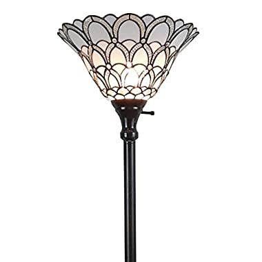 Amora Lighting AM071FL14 Tiffany-style Jewel Floor Torchiere Lamp White, 14 W x 72 H