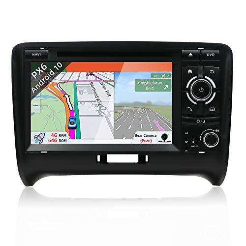 JOYX PX6 Android 10 Autoradio per Audi TT 2006-2011 Navegacion | 4G+64G | LIBRE Cámara trasera & Canbus | GPS 2 Din | A72 Cortex | Supporto BT4.0 HDMI 4K-Video WLAN MirrorLink DAB Carplay | 7 Pollici