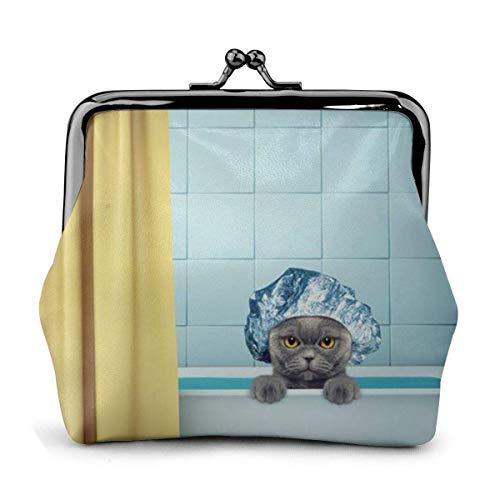 Gato en la bañera, Cuero de la PU, Exquisita Hebilla, monederos, Bolsa clásica, Monedero clásico con Cierre de Beso, Monedero, billeteras, Regalo