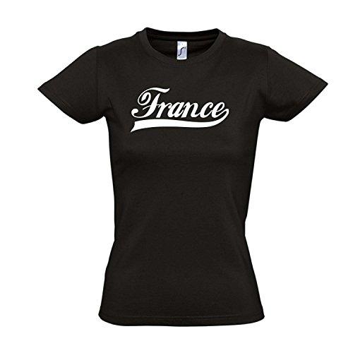 Damen T-Shirt - Frankreich Oldschool France LÄNDERSHIRT EM/WM Fan Trikot S-XXL, Deep Black - weiß, L
