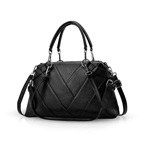 NICOLE & DORIS Handtaschen für Damen Top-Griff Taschen für Frauen große Umhängetasche Schwarz