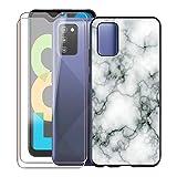 KJYF para Samsung Galaxy F02s Funda + 2 Piezas Cristal Templado, Case Caso Negro Suave Silicona Cover TPU Carcasa Vidrio Templado Protector para Samsung Galaxy F02s (6.5') - WM73