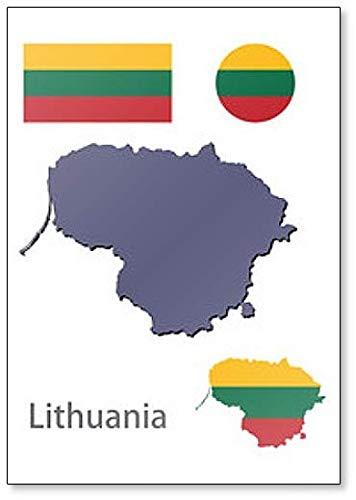 Kühlschrankmagnet mit Litauen-Silhouette & Flagge.