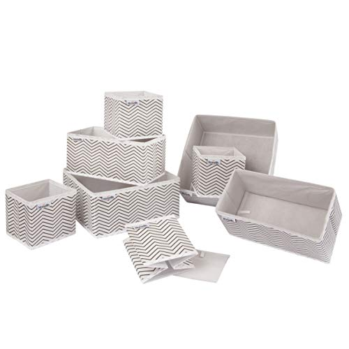Homelife Dresser Organizer Set of 8 Foldable Storage Box Dividers for Drawer Wardrobe Cubes for Socks Nappies Clothes Toiletries Bra