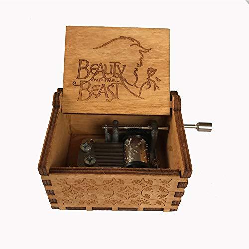 MINGZE Caja de música de Madera manivela, Pure Hand-Classical Music Box Hand-Wooden Music Box Creative Wooden Crafts Best Gifts, Variedad de Estilos (Beauty and The Beast(Wood Color))