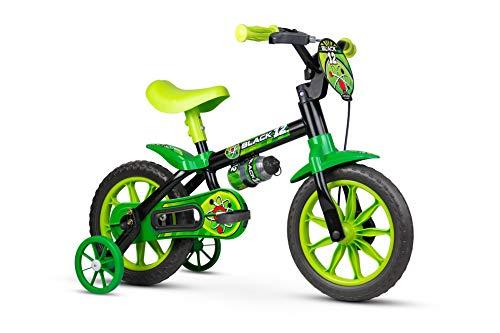 Bicicleta Infantil Aro 12 New Black Com Rodinhas Menino - Nathor