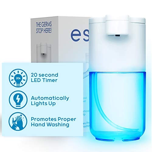 ESNTL Soap Dispenser w/ Integrated 20 Second Light Timer for Proper Hand Washing – Automatic Foaming Hand Soap Dispenser Perfect for Bathroom, Kitchen Sink, Office