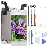 GULEEK Pantalla para iPhone 5s/se 4.0' LCD Táctil Pantalla con Cámara Frontal,Sensor de proximidad,Altavoz, ensamblaje de Marco digitalizador y Kit de reparación (Blanco)