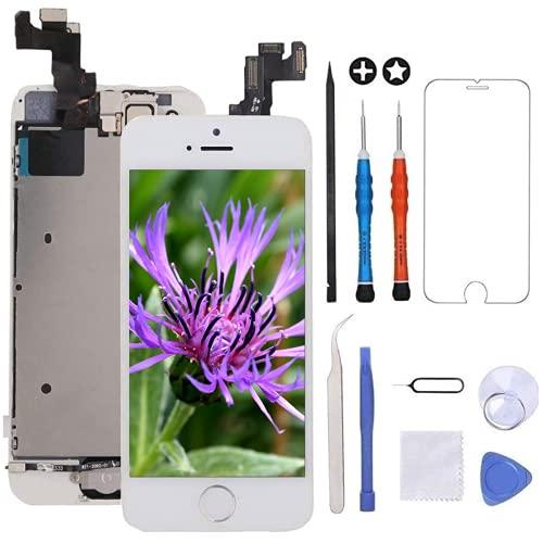 """GULEEK Display per Bianco iPhone 5s Schermo 4,0"""" LCD Touch Screen Digitizer Parti di Ricambio (con Home Pulsante, Altoparlante, Fotocamera,Sensore Flex) Strumenti Inclusi"""