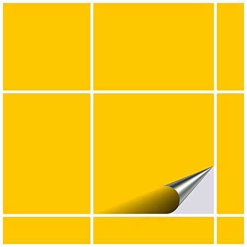 FoLIESEN Fliesenaufkleber 10x10 cm - Fliesen-Folie Bad - Klebefolie Küche - 40 Klebefliesen, Gelb matt