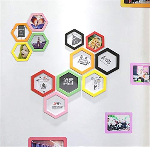 Hexagon Magnetische fotolijsten - 1 Stk, Extra Dikke Sterke fotolijst Magneet voor Elegant Duidelijk Decor Gemakkelijk te veranderen Foto Collage voor Koelkast, Magneet Board Decor Wanddecoratie S Groen