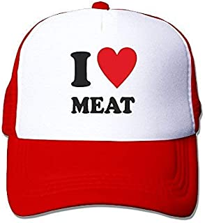 AUCAMP I Love Heart Meat Mesh Trucker Caps/Hats Adjustable for Unisex Black Red