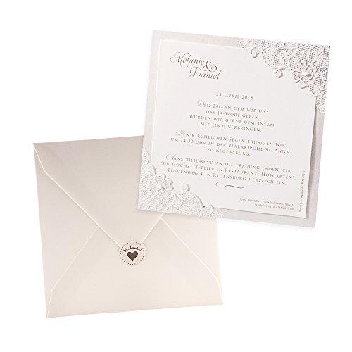 Weddix Klassische Einladungskarten Jana, 3 Stück, für die Hochzeit, Creme mit Flockdruck - blanko Hochzeitseinladungen mit Umschlag Siegeletikett