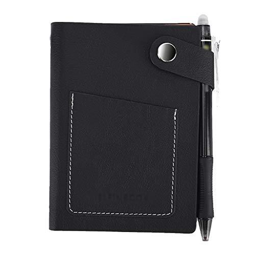 VREF Cuaderno de Tapa Dura Portátil Inteligente Reescribible Hoja Suelta Cuaderno electrónico Mini Lata Nuevo Cuaderno de Diario Rayado de Papel Grueso (Color : Black, tamaño : 10.5 * 7.4cm)