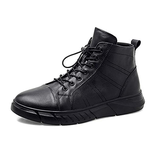 Comfortabel en ontspannen Grote Maat enkellaarsjes for mannen Fashion High-top Shoes Outdoor Sports echt leder Lace Up ronde neus Platform Anti-slip hjm (Color : Black, Size : 46 EU)