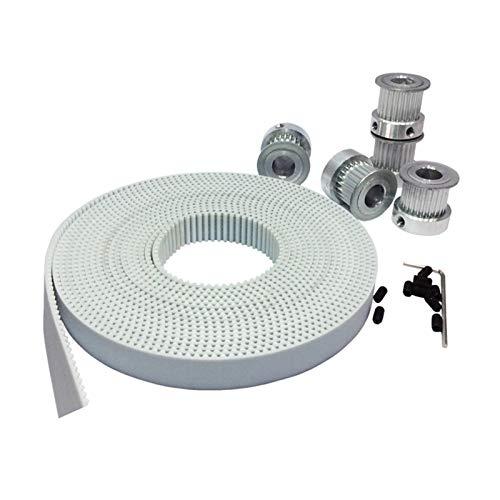 Xianglaa-Polea de distribución 5 metros blancos PU 3M Ancho de la correa de distribución 15 mm + 5pcs 20 dientes Polea 3M, orificio 5/6 / 6.35 / 8 / 12mm, para piezas de máquinas de grabado CNC HTD3M