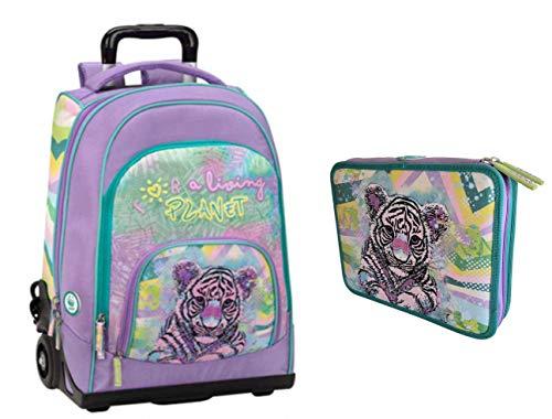 Kit Completo TROLLEY ZAINO scuola WWF A Living Planet Girl Pink 2020 + ASTUCCIO 2 PIANI COMPLETO tigre tigrotto + omaggio penna glitterate e portachiave con paillettes