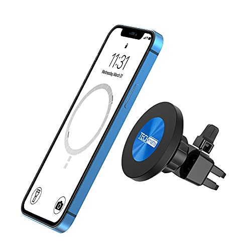TechMatte MagGrip Magnetic Vent Car Phone Mount Compatible with iPhone 12, Pro, Pro Max, Mini and MagSafe Case, Strong Magnet Air Mount 360° Rotation Car Phone Holder