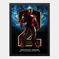 ハンギングペインティング - アイアンマン2 IRONMAN2 マーベル 9のポスター 黒フォトフレーム、ファッション絵画、壁飾り、家族壁画装飾 サイズ:33x24cm(額縁を送る)