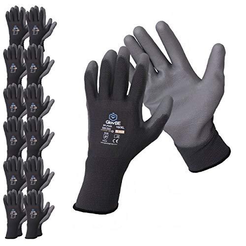 GlovBE 12 Pairs Polyester Work Gloves, Polyurethane (PU) Coated, Grey (Medium)