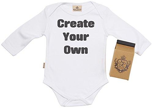 SR - Estuche de presentación - Personalizado Create Your Own Custom Camisetas para bebé niño - Camisetas para bebé niña - Personalizado Conjunto Regalo del bebé, Blanco - 0-6 Meses