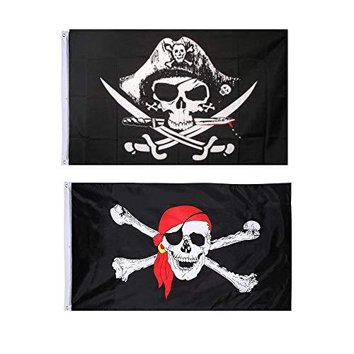 Integrity.1 Bandera Pirata,2 Piezas Bandera del Cráneo, Bandera Pirata del Partido, Bandera Pirata Jolly Roger, para la Decoración de Halloween, Juego Pirata, Fiesta Pirata, Cosplay Pirata