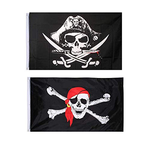 Integrity.1 Piratenflagge, 2 Stücke Schädel Fahne, Piratenparty-Flagge, Piratenflagge von Jolly Roger, für Halloween-Dekoration, Piratenspiel, Piratenparty, Piraten-Cosplay