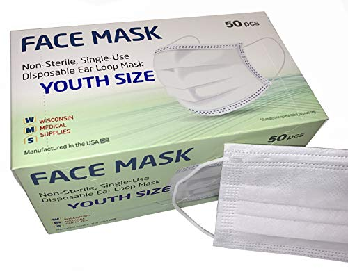 WMS Small Ear Loop Youth Face Masks, Wisconsin Medical Supplies, MADE IN USA, 1 Pack (50 PCs)