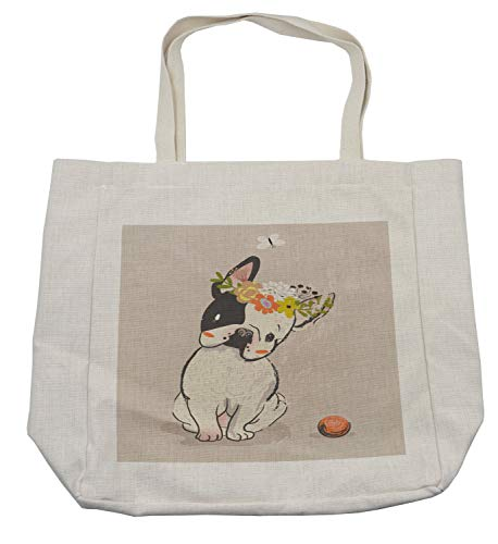 Lunarable Dog Shopping Bag, Hand Drawn French Bulldog with Wreath on Its Head Watercolor Domestic Pet Illustration, Eco-Friendly Reusable Bag for Groceries Beach and More, 15.5' X 14.5', Cream
