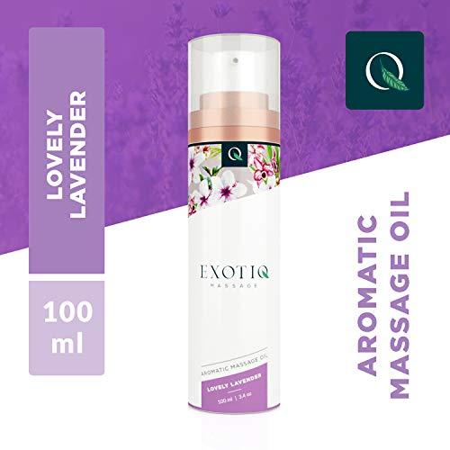 Exotiq Aromatico Olio di Massagio Adorabile Lavanda (100 ml - 3.4 oz) - Ideale per un Massaggio Rilassante - Effetto Lenitivo e Calmante; Profumo di Lavanda, Maneggevole Pompa di Dosaggio