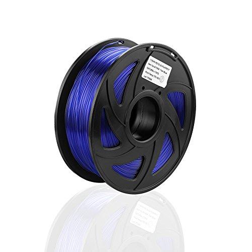 S SIENOC 1Kg PEGT 1,75mm 3D Printer Filamento Spool 3D Materiale di stampa per stampanti (PEGT Trasparente-Blu)
