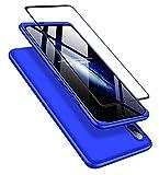 DECHYI compatibles para Funda Huawei P Smart+ 2019,Cubierta + Cristal Templado Matte Ultra Slim PC Hard-Protección del Cuerpo Scratchproof Cubierta-Azul