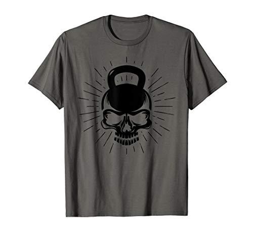 Herren Kettlebell Skull Fitness Totenkopf Workout Fitnessstudio T-Shirt